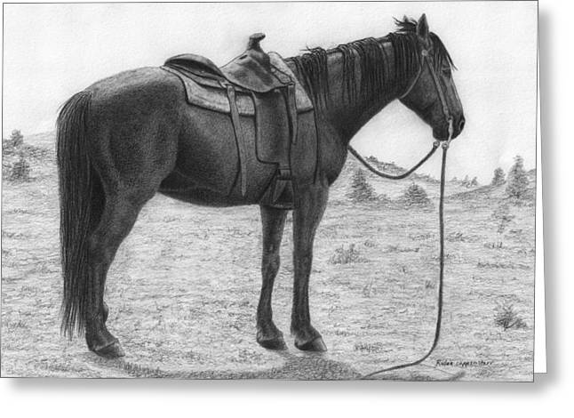 Quarter Horses Drawings Greeting Cards - Quarter Horse Resting Greeting Card by Rulan Capper-Starr