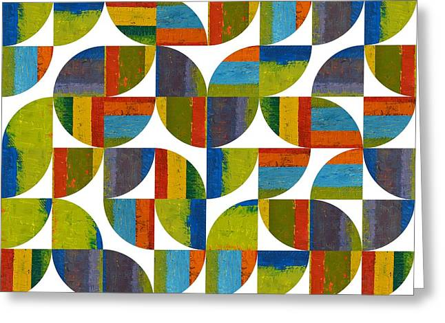 Geometric Style Greeting Cards - Quarter Rounds 64 Greeting Card by Michelle Calkins
