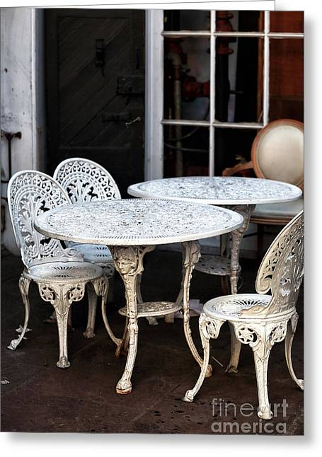 Table And Chairs Greeting Cards - Quarter Tables Greeting Card by John Rizzuto