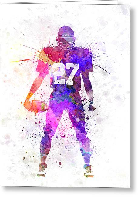 American Football Paintings Greeting Cards - Quarterback American Football Player Man Greeting Card by Pablo Romero