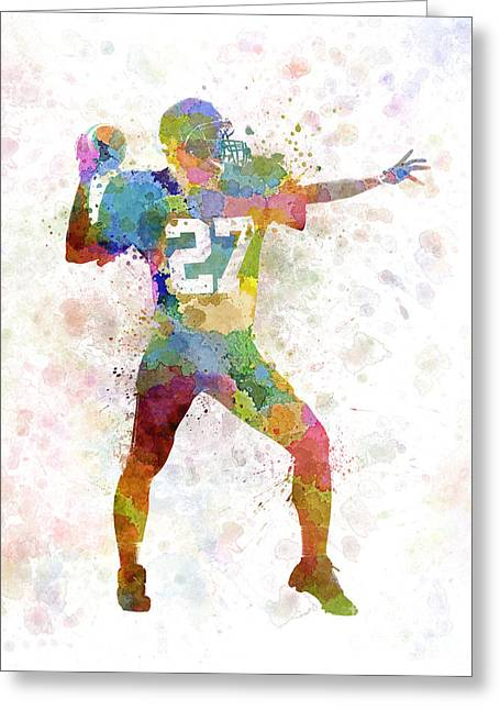 American Football Paintings Greeting Cards - Quarterback American Throwing Football Player Man Greeting Card by Pablo Romero