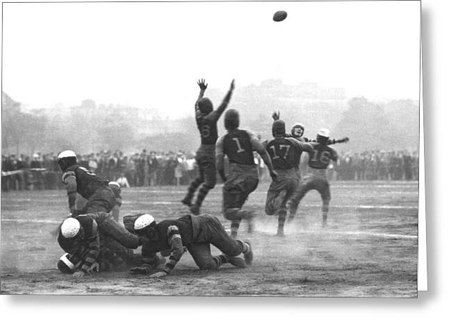 Throw Down Greeting Cards - Quarterback Throwing Football Greeting Card by Underwood Archives