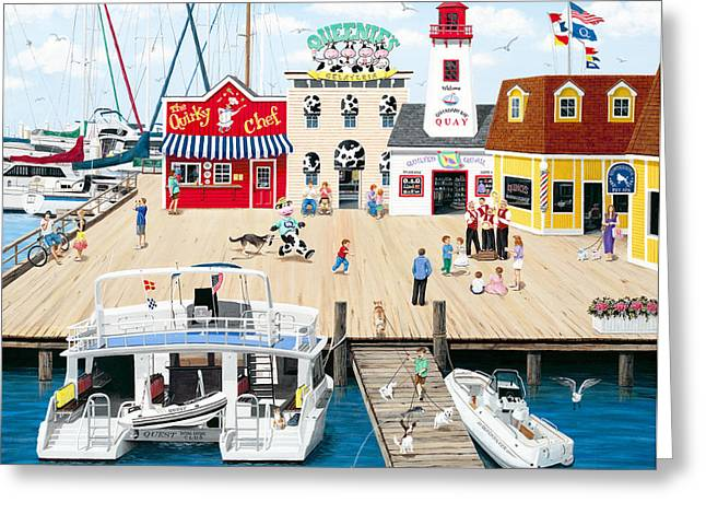 Quartet Paintings Greeting Cards - Quartet at the Quay Greeting Card by Wilfrido Limvalencia