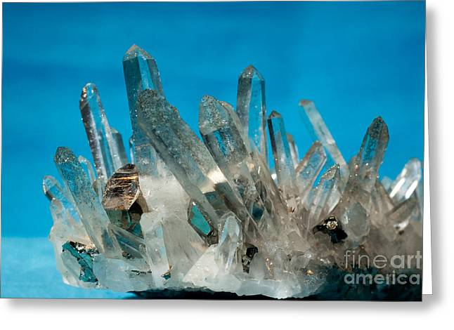 Birthstone Greeting Cards - Quartz with pyrite fools gold crystals grown on Greeting Card by Stephan Pietzko