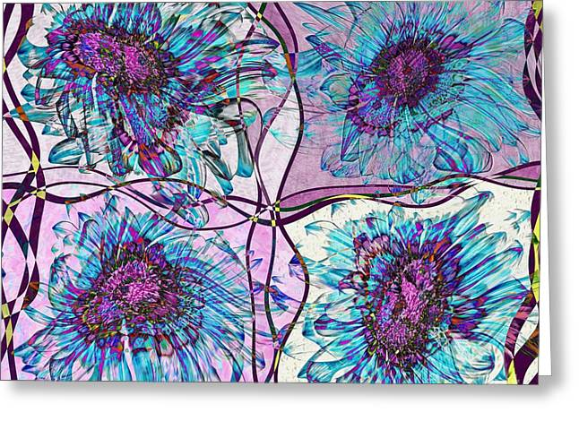 Lilac Digital Art Greeting Cards - Quatro Floral - 11ac04 Greeting Card by Variance Collections