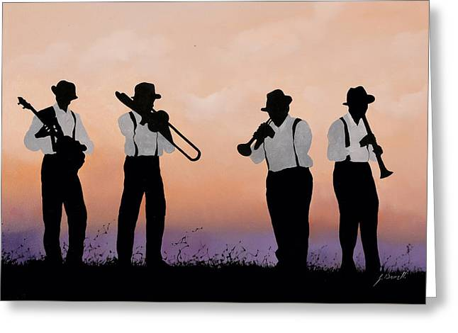 Jazz Trumpet Greeting Cards - Quattro Greeting Card by Guido Borelli