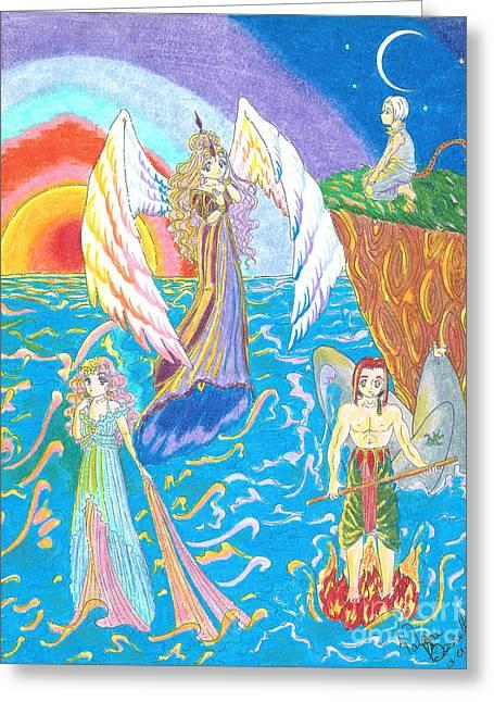 Angel Mermaids Ocean Greeting Cards - Quatuor Greeting Card by Valerie Bessette