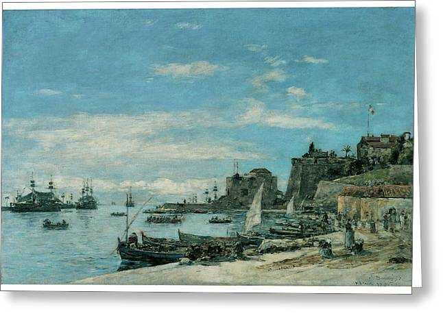 Sailboats At The Dock Greeting Cards - Quay at Villefranche Greeting Card by Eugene Boudin