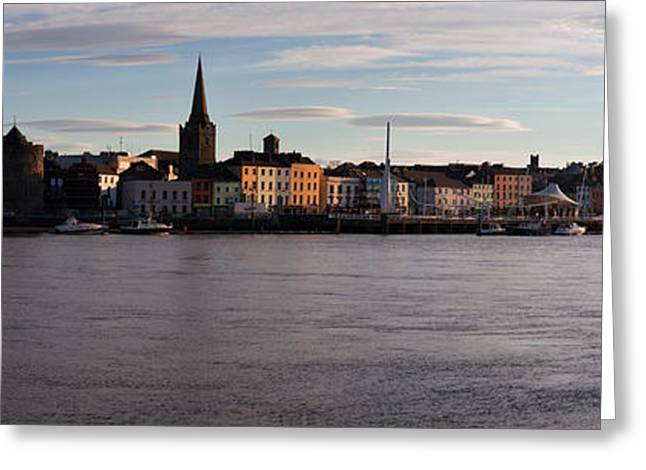 Quayside Greeting Cards - Quayside, Reginalds Tower, River Suir Greeting Card by Panoramic Images