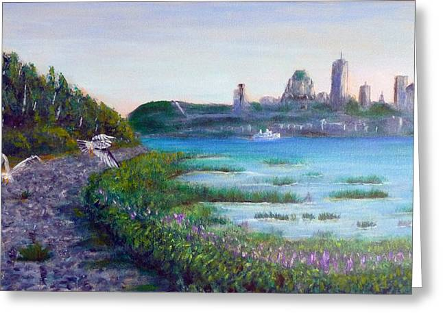 Levis Paintings Greeting Cards - Quebec aux premieres loges Greeting Card by Jean Dore