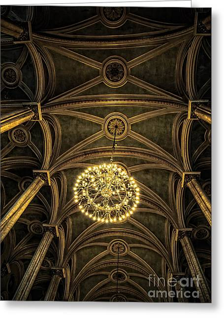 Hdr Look Greeting Cards - Quebec City Canada Ornate Grand Hall or Church Ceiling Greeting Card by Edward Fielding
