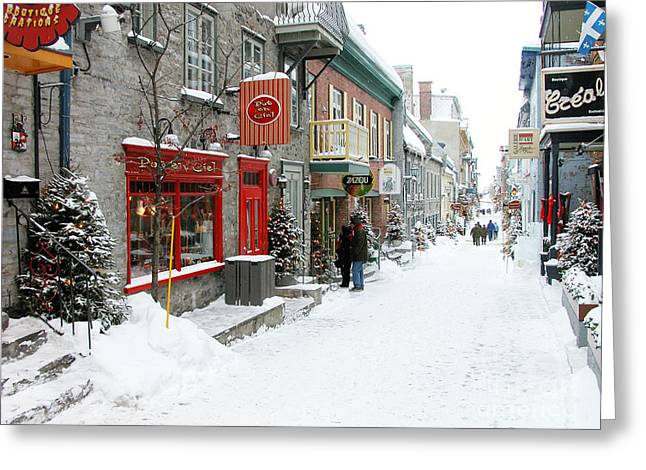 French Signs Greeting Cards - Quebec City in Winter Greeting Card by Thomas R Fletcher