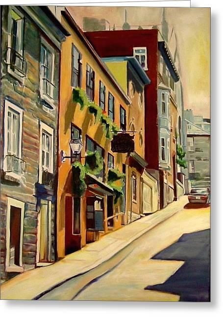 Sheila Diemert Paintings Greeting Cards - Quebec City Greeting Card by Sheila Diemert