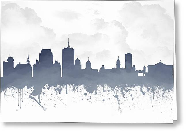Town Mixed Media Greeting Cards - Quebec City Skyline - Blue 03 Greeting Card by Aged Pixel