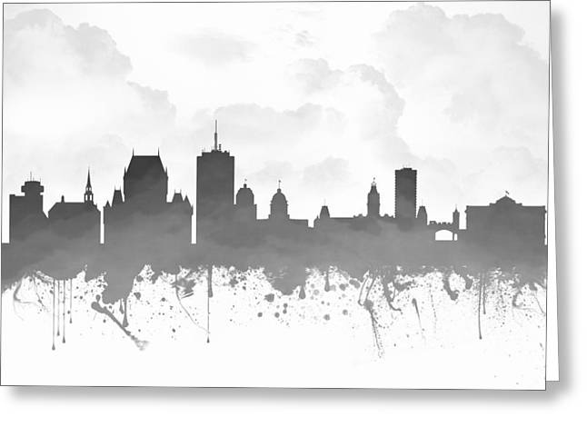 Town Mixed Media Greeting Cards - Quebec City Skyline - Gray 03 Greeting Card by Aged Pixel