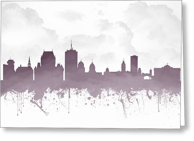 Town Mixed Media Greeting Cards - Quebec City Skyline - Purple 03 Greeting Card by Aged Pixel