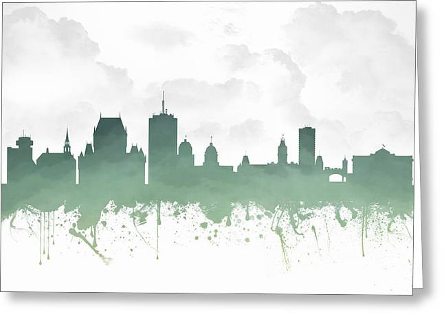 Town Mixed Media Greeting Cards - Quebec City Skyline - Teal 03 Greeting Card by Aged Pixel