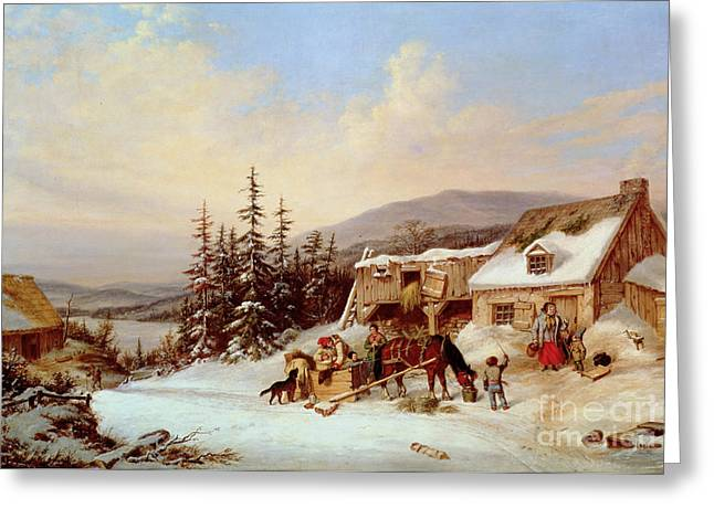 Happy Family Paintings Greeting Cards - Quebec Greeting Card by Cornelius Krieghoff