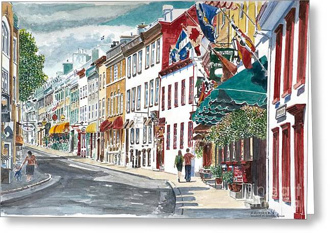 People Walking Greeting Cards - Quebec Old City Canada Greeting Card by Anthony Butera
