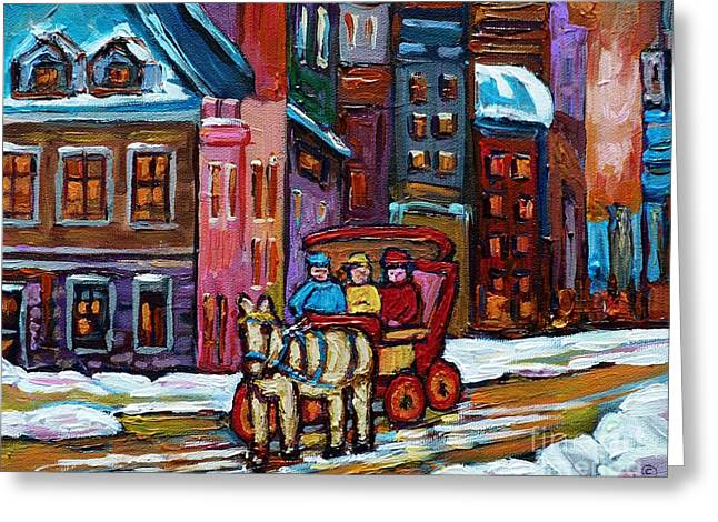 Montreal Streets Greeting Cards - Quebec Paintings Old City Vieux Port Montreal Art Winter Wonderland Caleche And Horse Carole Spandau Greeting Card by Carole Spandau
