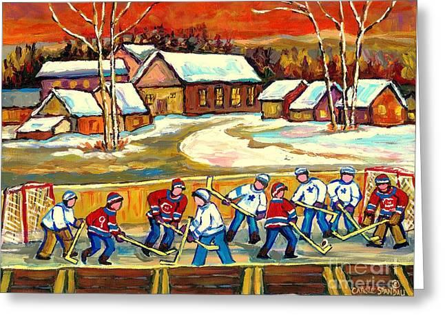 Hockey Paintings Greeting Cards - Quebec Rink Hockey Village Scene Canadian Winter Landscape Hockey Practice Orange Sky Carole Spandau Greeting Card by Carole Spandau
