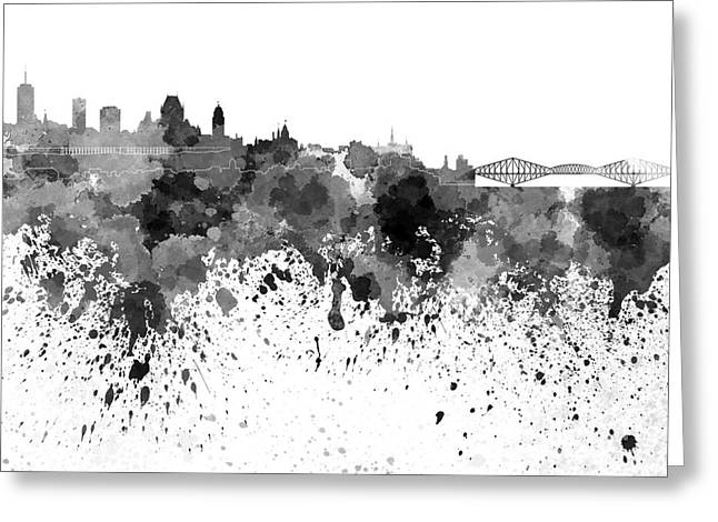 Quebec Paintings Greeting Cards - Quebec skyline in black watercolor on white background Greeting Card by Pablo Romero
