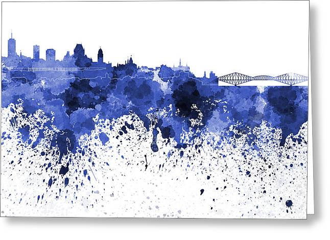 Quebec Paintings Greeting Cards - Quebec skyline in blue watercolor on white background Greeting Card by Pablo Romero