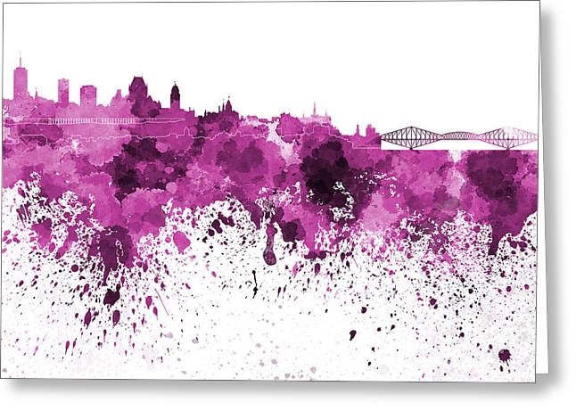 Quebec Paintings Greeting Cards - Quebec skyline in pink watercolor on white background Greeting Card by Pablo Romero