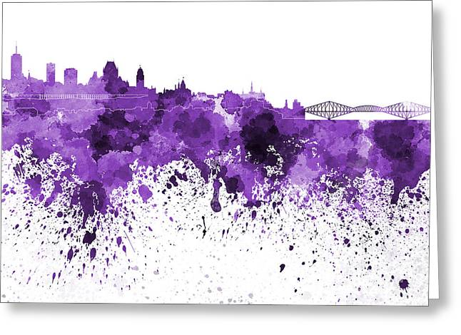 Quebec Paintings Greeting Cards - Quebec skyline in purple watercolor on white background Greeting Card by Pablo Romero