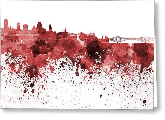 Quebec Paintings Greeting Cards - Quebec skyline in red watercolor on white background Greeting Card by Pablo Romero