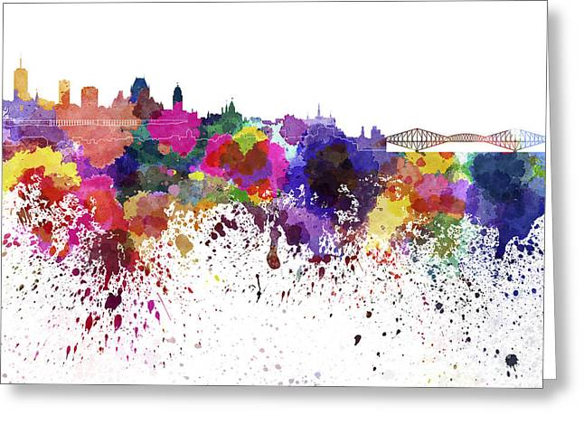 Quebec Paintings Greeting Cards - Quebec skyline in watercolor on white background Greeting Card by Pablo Romero