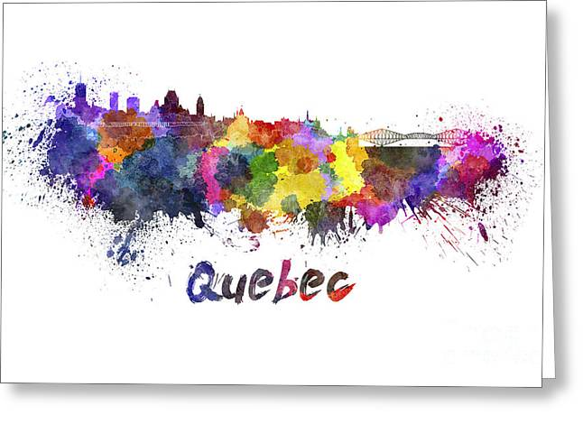 Quebec Paintings Greeting Cards - Quebec skyline in watercolor Greeting Card by Pablo Romero