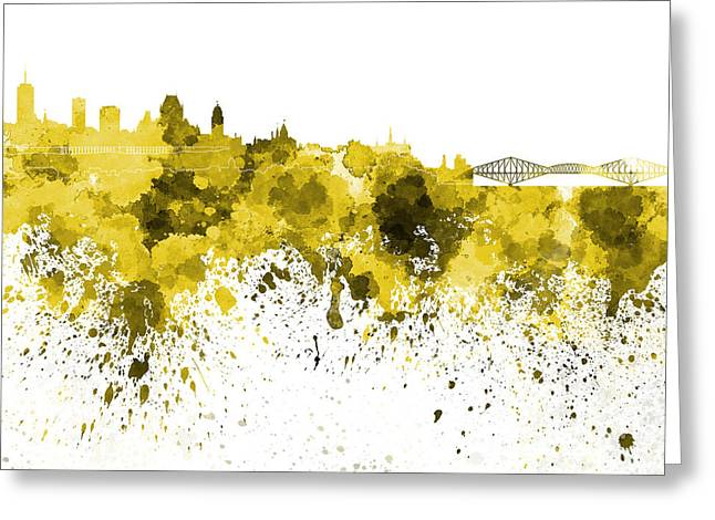 Quebec Paintings Greeting Cards - Quebec skyline in yellow watercolor on white background Greeting Card by Pablo Romero