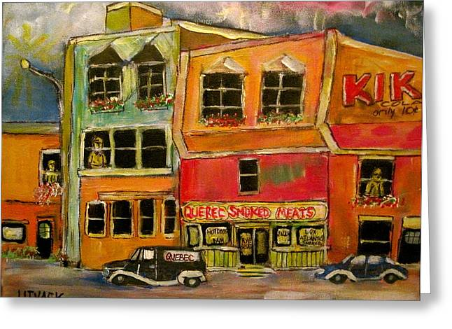 Quebec  Smoked Meat King Greeting Card by Michael Litvack