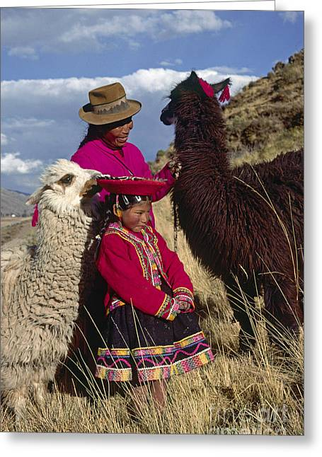 Textile Photographs Greeting Cards - Quechua Grandmother And Granddaughter - Peru Greeting Card by Craig Lovell