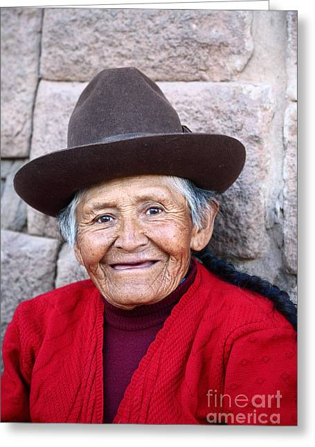 Senior Citizens Greeting Cards - Quechua Lady in Cusco Greeting Card by James Brunker