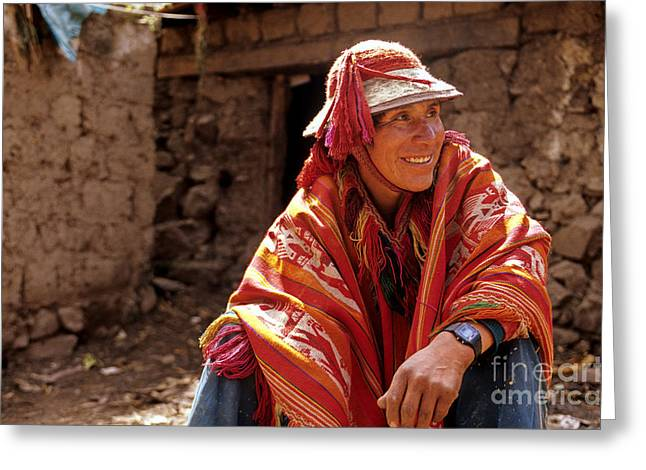 Aborigine Greeting Cards - Quechua man Sacred Valley Peru Greeting Card by Ryan Fox