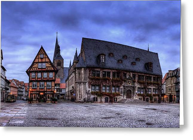 Haus Pyrography Greeting Cards - Quedlinburg Markt Panorama Greeting Card by Steffen Gierok