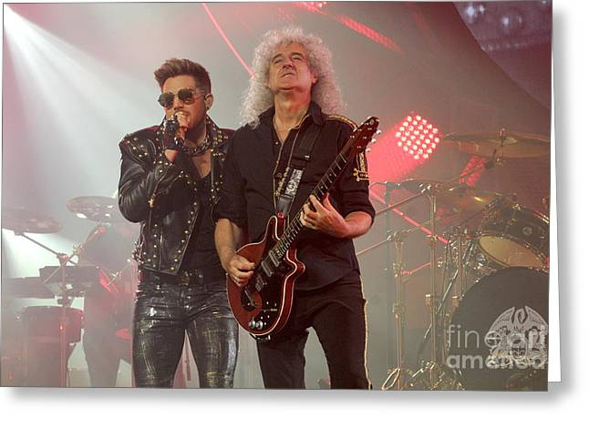 Adam Lambert Greeting Cards - Queen Adam Lambert  Brian May Greeting Card by Front Row  Photographs