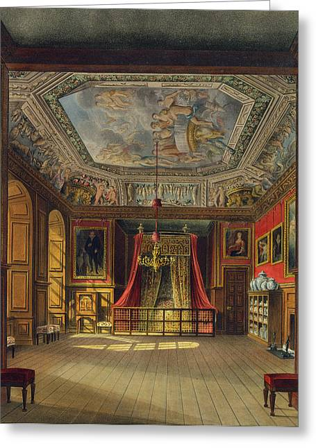 Bed Drawings Greeting Cards - Queen Annes Bed, Windsor Castle Greeting Card by Charles Wild
