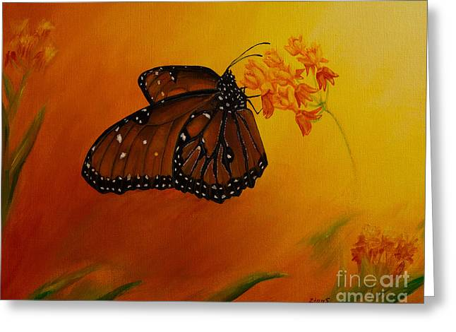 Swamp Milkweed Greeting Cards - Queen Butterfly  Greeting Card by Zina Stromberg