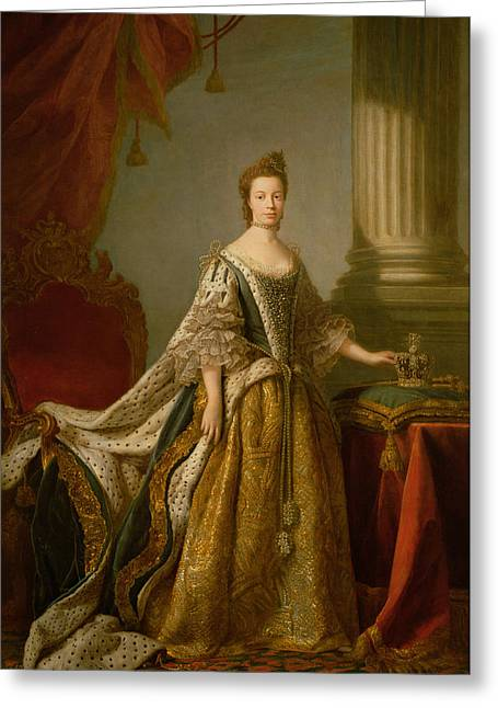 Full-length Portrait Greeting Cards - Queen Charlotte, C.1762-64 Oil On Canvas Greeting Card by Allan Ramsay