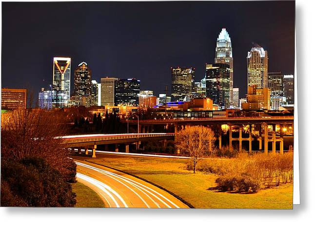 Queen City At Night Greeting Card by Chris Gonyar