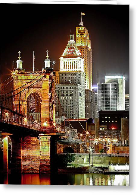Usa Photographs Greeting Cards - Queen City at Night Greeting Card by Keith Allen