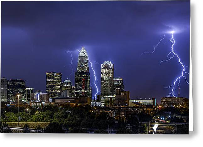 Charlotte Uptown Greeting Cards - Queen City Strike Greeting Card by Chris Austin