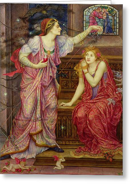 Williams Greeting Cards - Queen Eleanor and Fair Rosamund Greeting Card by Evelyn De Morgan