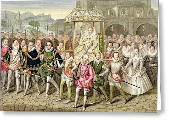 Gathering Drawings Greeting Cards - Queen Elizabeth I In Procession Greeting Card by Sarah Countess of Essex