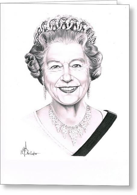 Pencil Drawing Greeting Cards - Queen Elizabeth Greeting Card by Murphy Elliott