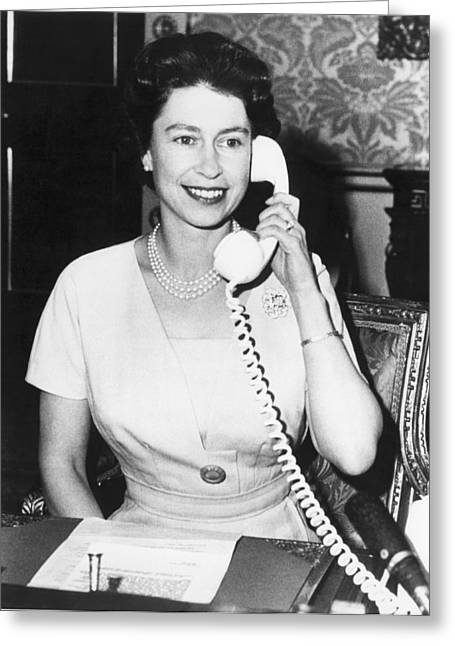 Queen Elizabeth On The Phone Greeting Card by Underwood Archives
