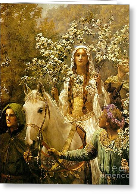 Collier Paintings Greeting Cards - Queen Guinevere - Maying Greeting Card by Pg Reproductions